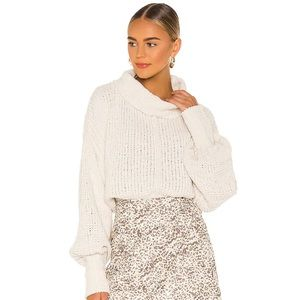 FREE PEOPLE Be Yours Vanilla Bean Chunky Knit Cowl Neck Cropped Sweater